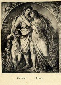 Image of God Baldur, Nanna, and their child