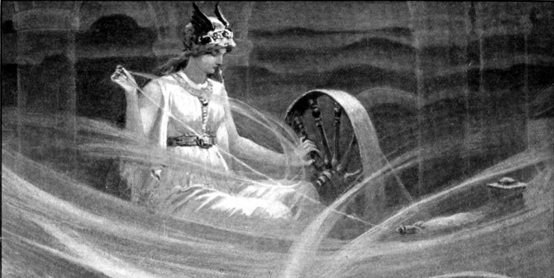 Image of Frigg Norse Goddess spinning the clouds