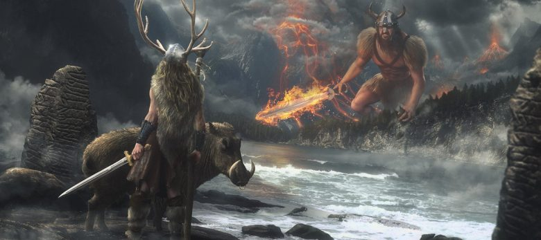 Image of Freyr and giant Surtr in their final combat in Ragnarok