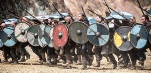 Image of Viking spear and viking shieldwall Vikings series
