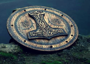 Image of Viking shield mjolnir hammer rune