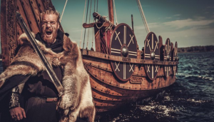 Image of Viking warriors Viking ship