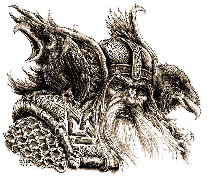 Huginn and Muninn perching on odin's shoulders to tell him what they had seen around the Nine Worlds within a day