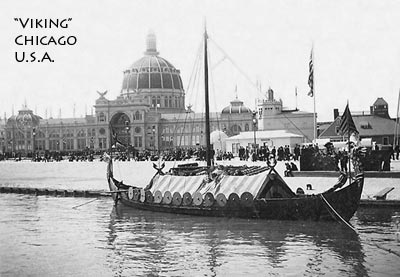 Image of Viking ship replica arrived at Chicago Columbian Exposition in 1893