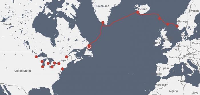 The route of Draken Harald Fairhair in the ocean