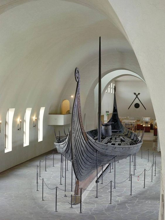 Oseberg ship on display in museum. Awesome  Viking artifacts