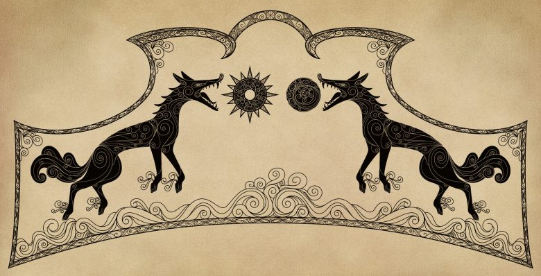 Hati and Skoll in Norse mythology