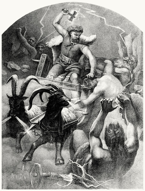 Thor rode his goats wielding the Mjolnir hammer to kill the giant in battle