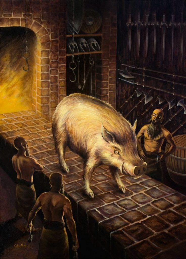 The making of Gullinbursti boar of Freyr in Norse mythology
