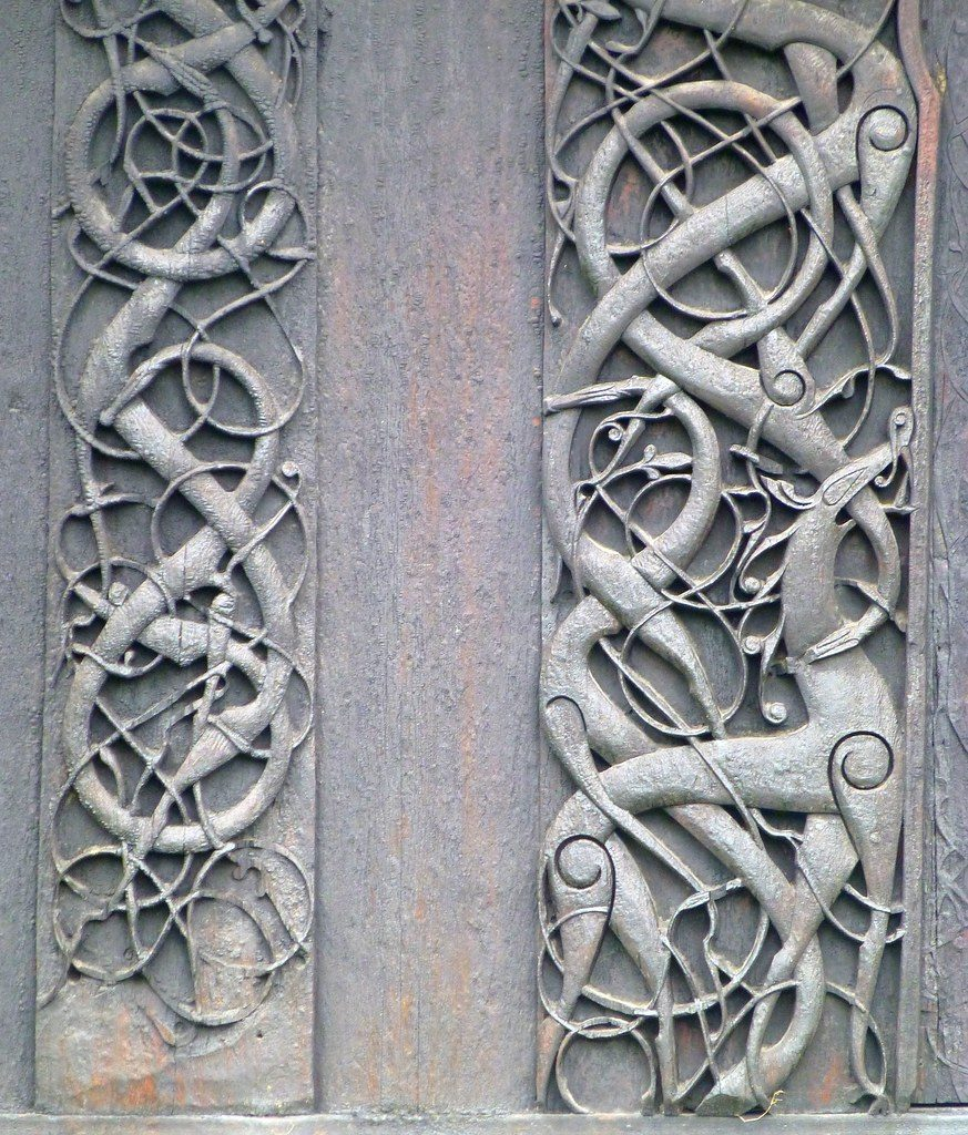 Intertwining animals featuring in the Viking Urnes Style