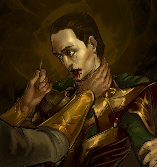 The dwarves sewed the lips of Loki to punish him for playing a trick on the dwarves.
