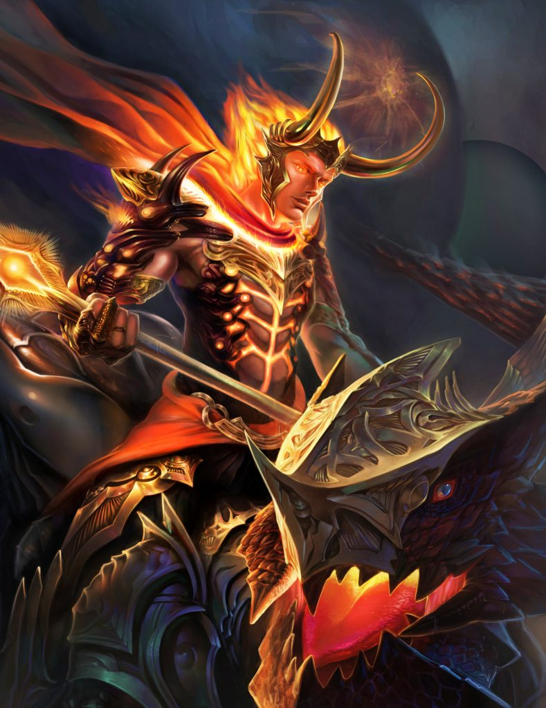 Loki one of the gods of fire in Norse mythology