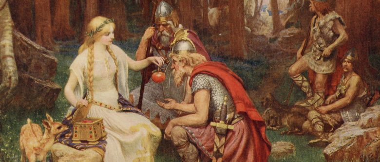 Image of Idun giving her golden apples of youth