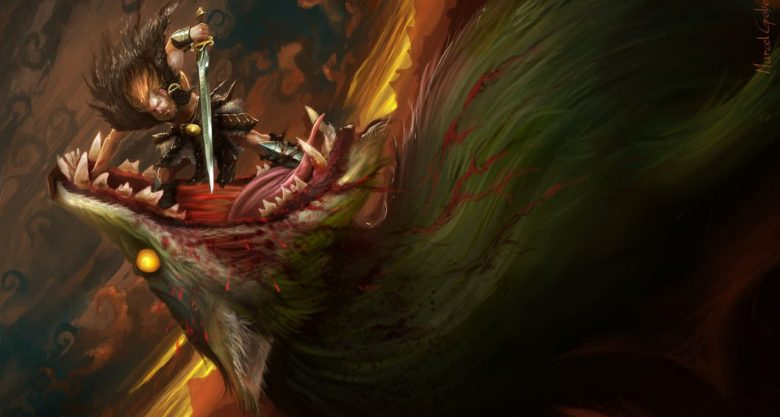 Image of Vidar killed Fenrir in Ragnarok