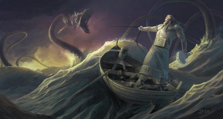 Image of Thor and Jormungandr Midgard Serpent encountering