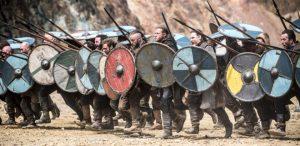 Image of Viking spear and viking shieldwall Vikings series