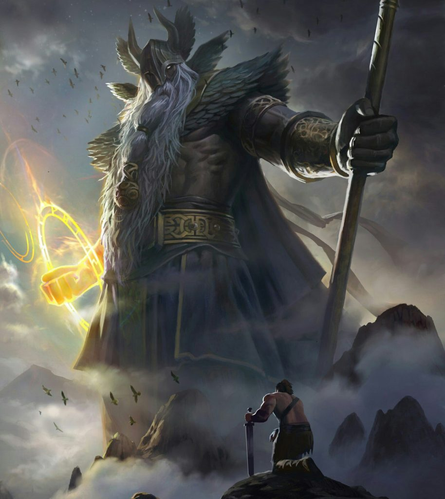 A Viking warrior hailing Odin when he could join Odin the Valhalla the Great Hall of Fallen Warriors