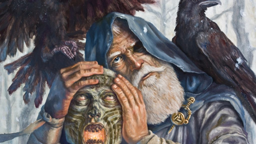 Odin and the head of Mimir the consultant of Odin the Allfather in NOrse mythology