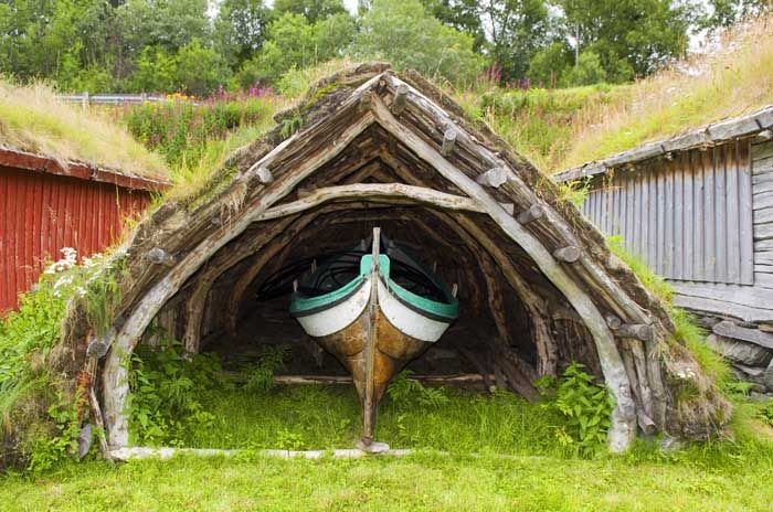 The reconstruction of the Viking house for boats