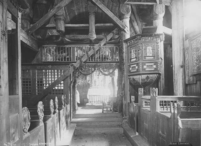 inside the Viking Urnes Stave Church